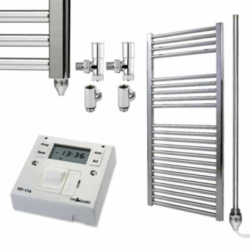 Straight Chrome Towel Rails – Dual Fuel Central Heating and Electric – with Fused Spur Timer 1
