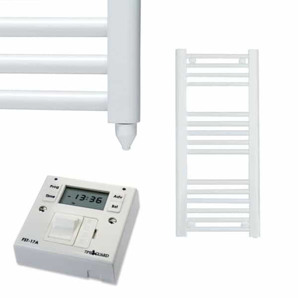 Straight White Electric PTC Towel Rails – Designer – The Bray – with Fused-Spur Timer 1