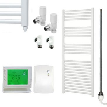 Straight White Towel Rails – Dual Fuel – Central Heating and Electric – Wireless Timer & Thermostat 1