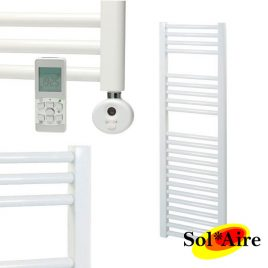 400 x 1200 Straight White Heated Towel Rail Thermostatic Electric