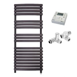 The Greeba Anthracite Designer Heated Towel Rail: Dual Fuel Electric PTC with Fused Spur Timer