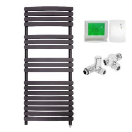 The Greeba Anthracite Designer Heated Towel Rail: Dual Fuel Electric PTC with Wireless Timer