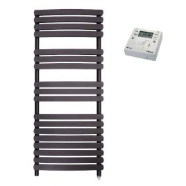The Greeba Anthracite Designer Heated Towel Rail: Electric PTC with Fused Spur Timer