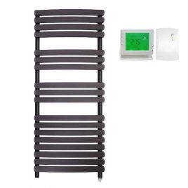 The Greeba Anthracite Designer Heated Towel Rail: Electric PTC with Wireless Timer