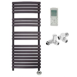 The Greeba Anthracite Designer Heated Towel Rail: Dual Fuel Thermostatic Electric