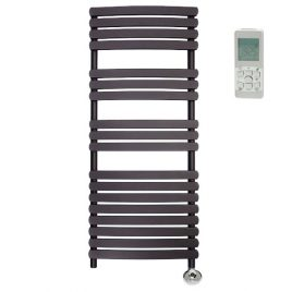 The Greeba Anthracite Designer Heated Towel Rail: Thermostatic Electric