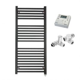 The Laurel Anthracite Square Tube Heated Towel Rail: Dual Fuel Electric PTC with Fused Spur Timer 1