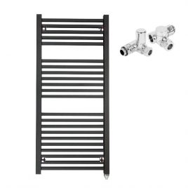 The Laurel Anthracite Square Tube Heated Towel Rail: Dual Fuel Electric PTC