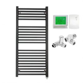 The Laurel Anthracite Square Tube Heated Towel Rail: Dual Fuel Electric PTC with Wireless Timer 1