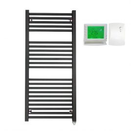The Laurel Anthracite Square Tube Heated Towel Rail: Electric PTC with Wireless Timer 1