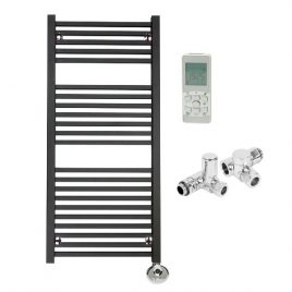 The Laurel Anthracite Square Tube Heated Towel Rail: Dual Fuel Thermostatic Electric