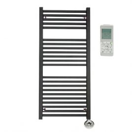 The Laurel Anthracite Square Tube Heated Towel Rail: Thermostatic Electric 1