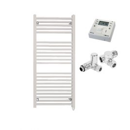 The Laurel White Square Tube Heated Towel Rail: Dual Fuel Electric PTC with Fused Spur Timer 1
