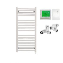The Laurel White Square Tube Heated Towel Rail: Dual Fuel Electric PTC with Wireless Timer 1
