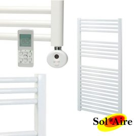 500 x 1200 Straight White Heated Towel Rail Thermostatic Electric