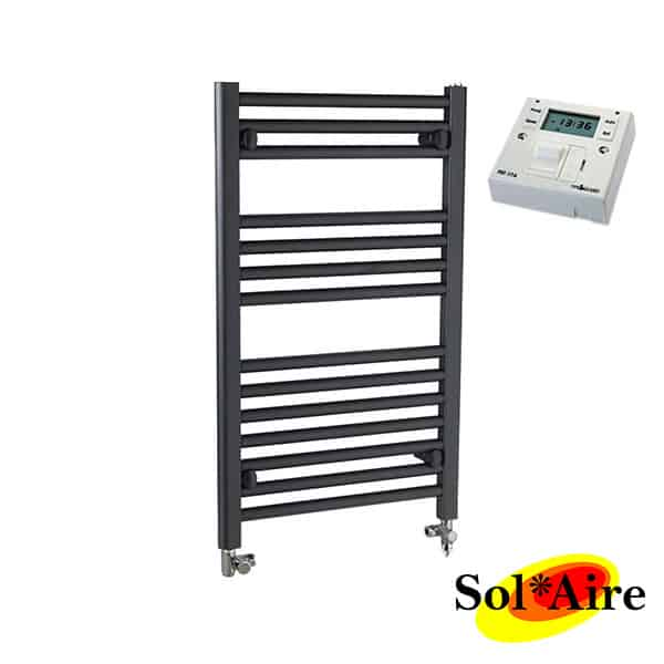Straight Chrome Heated Towel Rail Electric Ptc The Bray: 500 X 1500mm Straight Anthracite Electric PTC Towel Rail