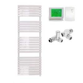 The Greeba White Designer Heated Towel Rail: Dual Fuel Electric Ptc With Wireless Timer