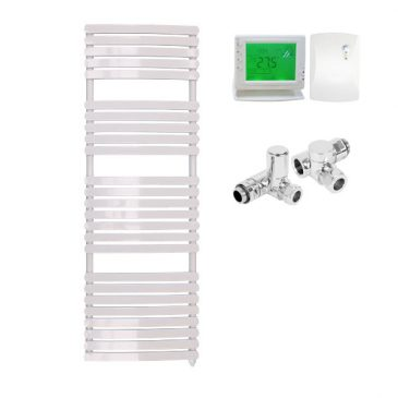 Greeba Modern Dual Fuel Heated Towel Rail Warmer Radiator, Curved Flat Panel White + Wireless Timer, Thermostat