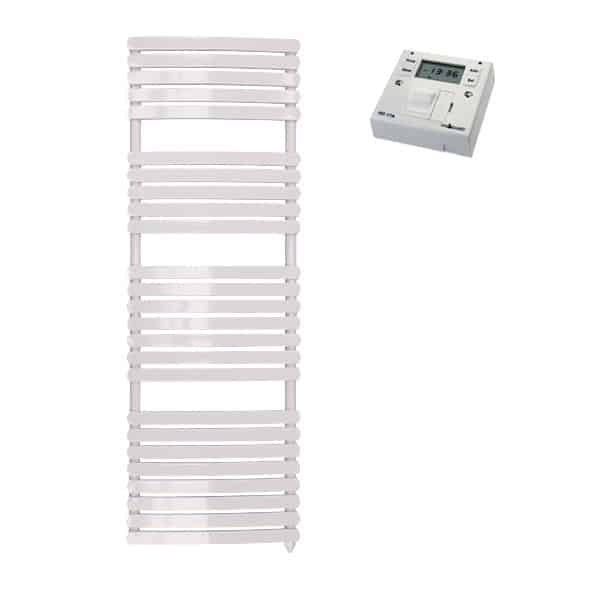 Greeba Modern Electric Heated Towel Rail Warmer Radiator, Curved Flat Panel White + Fused Spur Timer