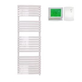 The Greeba White Designer Heated Towel Rail: Electric Ptc With Wireless Timer