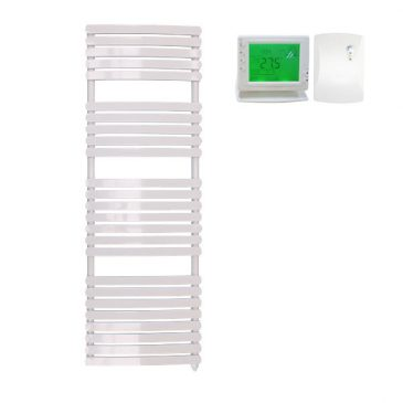 Greeba Modern Electric Heated Towel Rail Warmer Radiator, Curved Flat Panel White + Wireless Timer, Thermostat