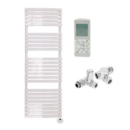 The Greeba White Designer Heated Towel Rail: Dual Fuel Thermostatic Electric