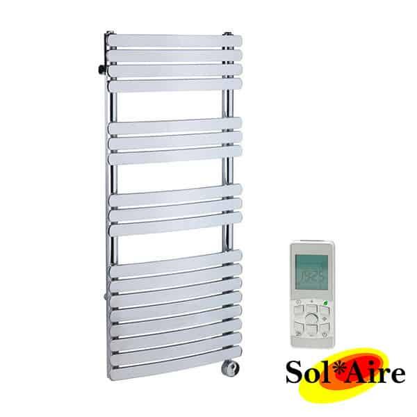 Flat Designer Thermostatic Electric Heating Heated: 550 X 800 Greeba Flat Panel Chrome Heated Towel Rail
