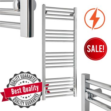 TRADESMAN Straight Chrome Budget Heated Towel Rail / Warmer / Radiator, Chrome – Electric, Thermostatic Element + Timer