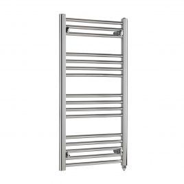 Straight Chrome Heated Towel Rail Electric PTC The Tradesman