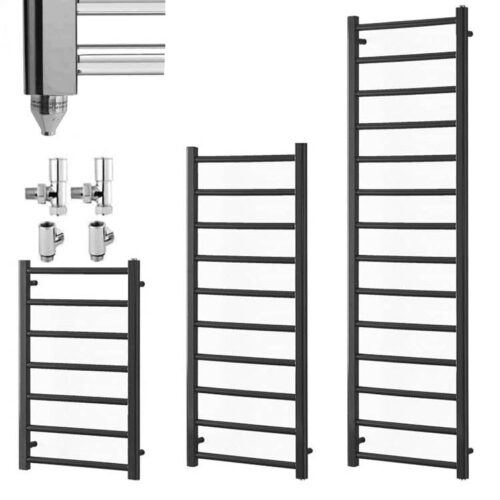 ALPINE Anthracite Modern Heated Towel Rail / Warmer - Dual Fuel