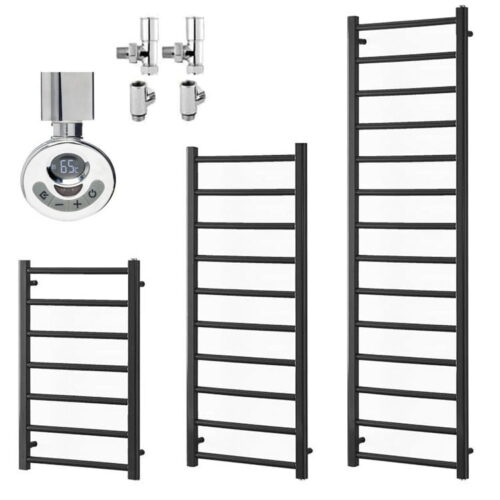 ALPINE Anthracite Heated Towel Rail / Warmer - Dual Fuel + Thermostat, Timer