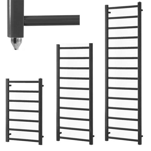 ALPINE Anthracite Modern Heated Towel Rail / Warmer Bathroom Radiator Electric