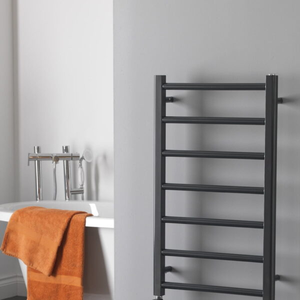 ALPINE Anthracite Heated Towel Rail / Warmer - Electric + Thermostat, Timer