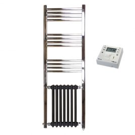 The Duke Traditional Victorian Hybrid Radiator Towel Rail Electric PTC with Fused Spur Timer 1