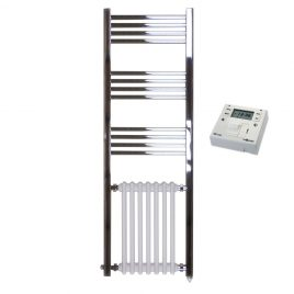 The Duke Traditional Victorian Radiator and Towel Rail Electric PTC Dual Fuel + Fused Spur Timer 1