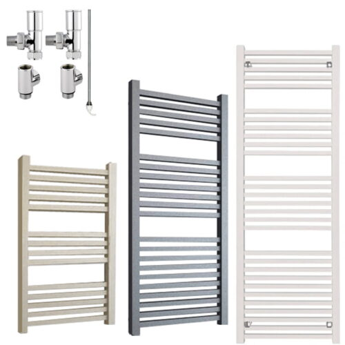 LAUREL ELEMENTS Square Tube Modern Heated Towel Rail / Warmer - Dual Fuel