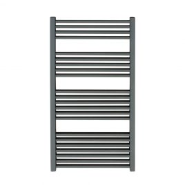 Anthracite Square Tube Heated Ladder Towel Rail Dual Fuel Electric PTC