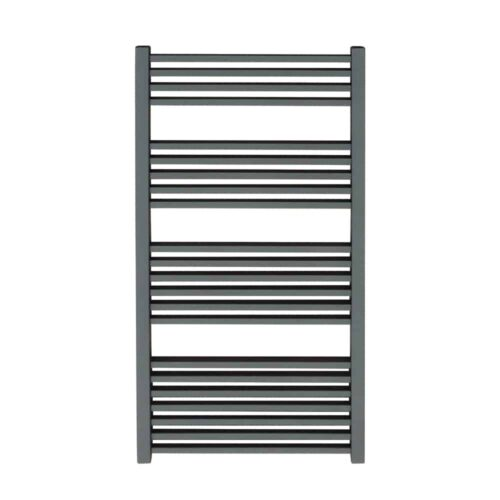 Anthracite Square Tube Heated Ladder Towel Rail Electric PTC Fused Spur Timer