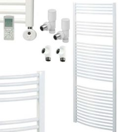 Bray Quality Curved White Dual Fuel Heated Towel Rail / Warmer Thermostatic, Timer