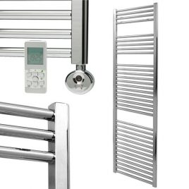 Straight Chrome Thermostatic Electric Heated Towel Rail The Bray