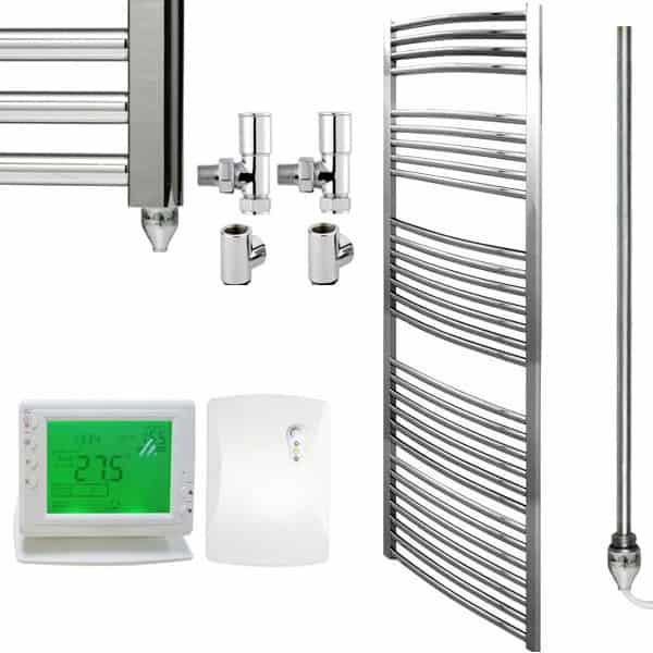Chrome straight dual fuel premium towel rail warmer - Electric bathroom radiators with timer ...