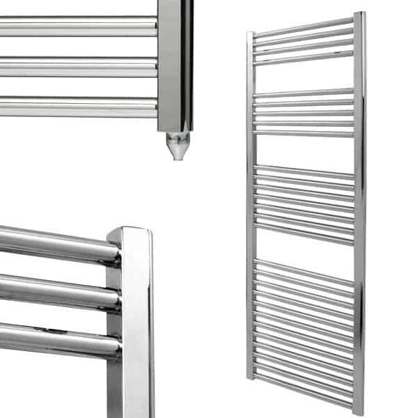 Straight Chrome Electric Bathroom Heated Towel Rail Electric Ptc The Bray