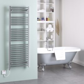 Straight Chrome Heated Towel Rail Dual Fuel Electric Thermostatic Ptc With Wireless Timer The Bray