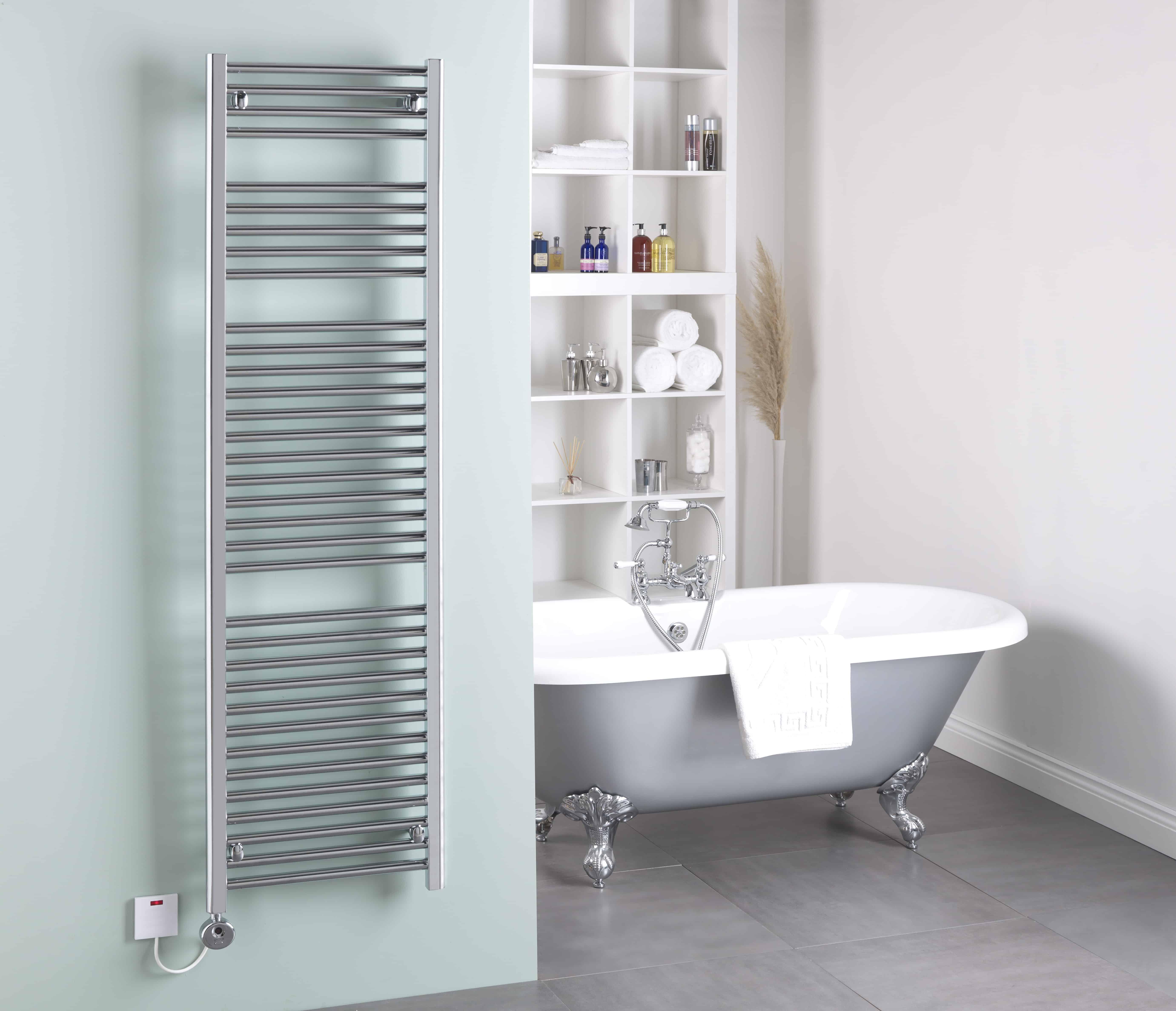 650x400mm Electric Straight Heated Towel Rail: Straight Chrome Thermostatic Electric Heated Towel Rail