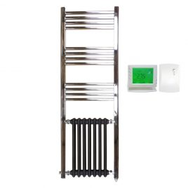 The Duke Traditional Victorian Hybrid Radiator Towel Rail Electric Ptc With Wireless Timer