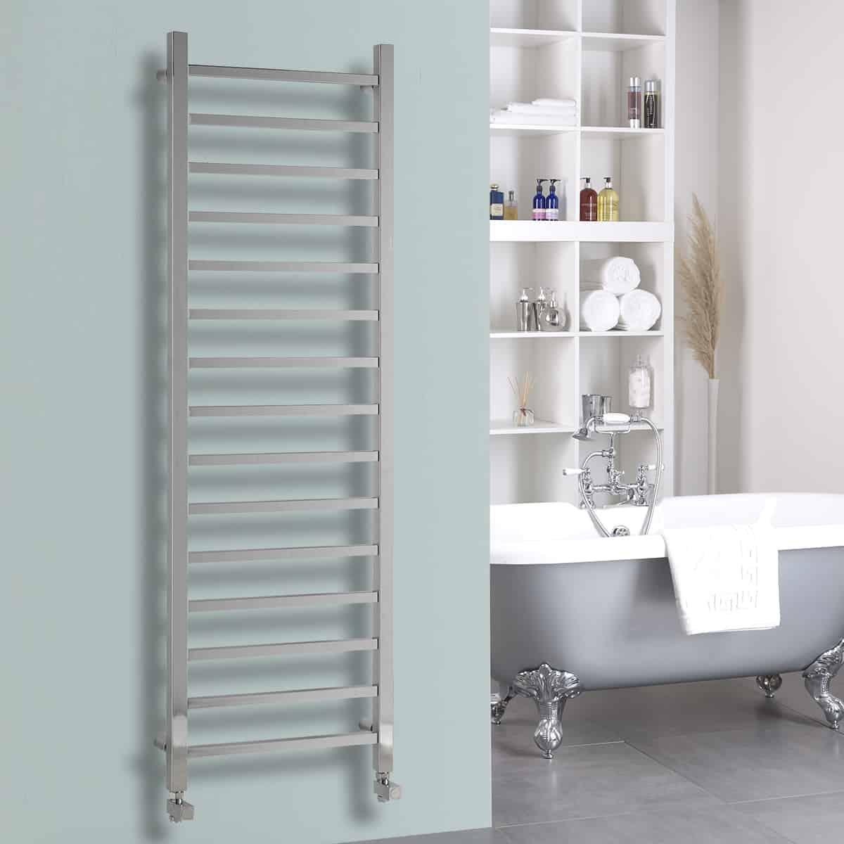 Bathroom heated towel radiators - Ballaugh Modern Thermostatic Electric Heated Towel Rail Warmer Radiator Square Tube Chrome Timer
