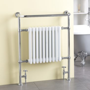 RAMSEY Traditional Victorian Heated Towel Rail & Column Radiator,, White CENTRAL HEATING