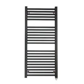 The Laurel Black Square Tube Heated Towel Rail: Electric PTC