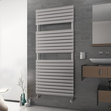 COLONIAL PRIME Oval Tube Modern Heated Towel Rail / Warmer / Radiator, White