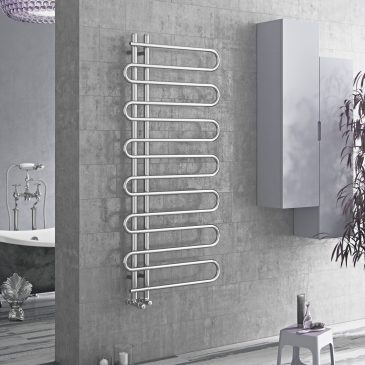 ESSES Snake Round Bar Modern Heated Towel Rail / Warmer / Radiator, Chrome